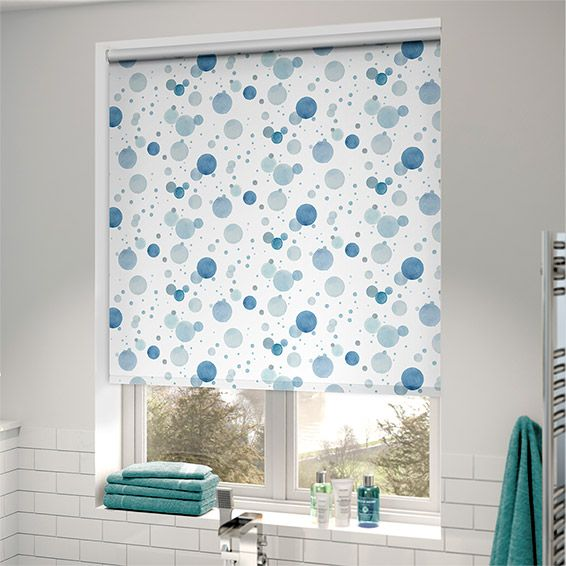 Splash Bubbles Blue Roller Blind Blinds Bathroom Blue