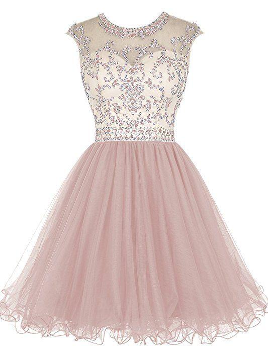 Tideclothes Short Beading Prom Dress Tulle Evening Dress Hollow Back Blush US4