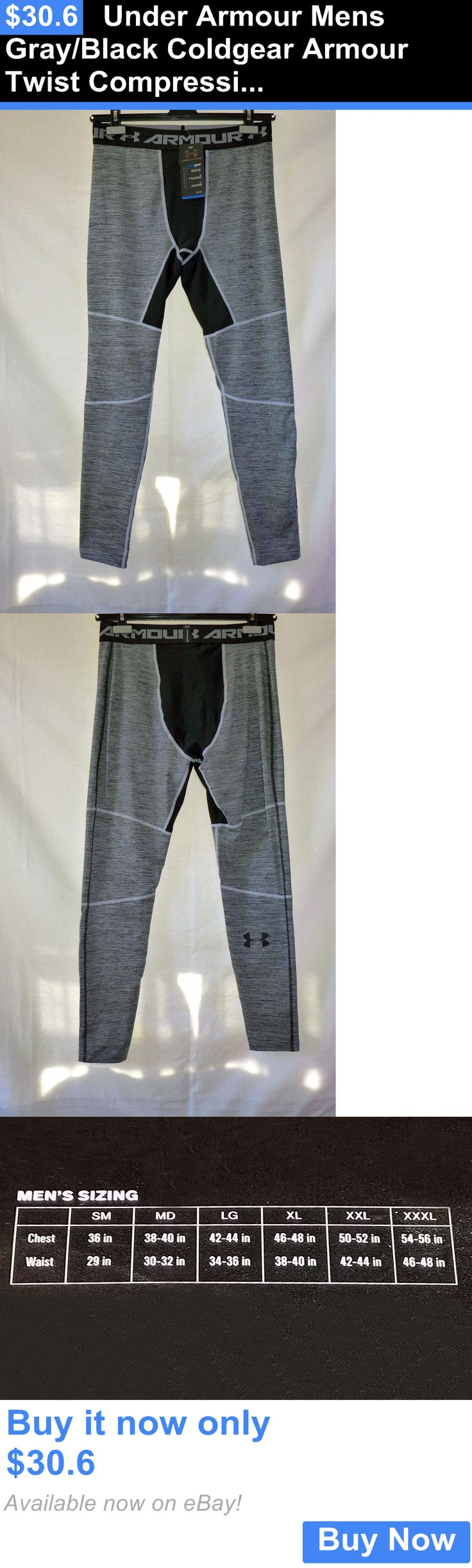 Men Athletics: Under Armour Mens Gray/Black Coldgear Armour Twist Compression Leggings Xl Nwt BUY IT NOW ONLY: $30.6