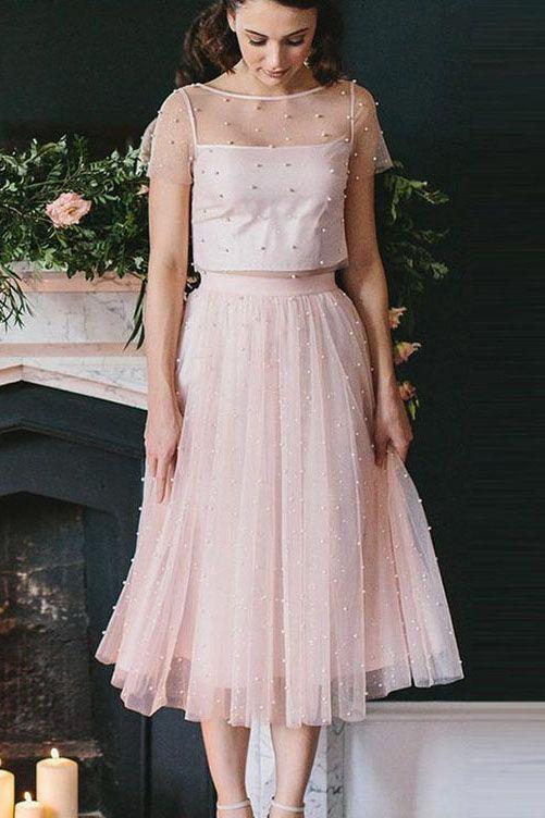 Sheer Blush Pink Tea Length Homecoming Dress with Beading