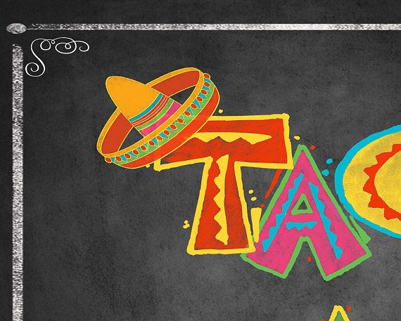 Printable Taco Bar sign for a build your own taco buffet, Fiesta Birthday, Fiesta Wedding Sign, Mexican Food Sign, Fiesta party decor, fiesta sign, Mexican Anniversary party, Fiesta Wedding or retirement Fiesta! Reads: Taco Bar (in a whimsical font with traditional Fiesta colors) Comes in four sizes: 5x7, 8x10, 11x14 and 16x20. This design is part of our new FIESTA Chalkboard Collection! Once purchased you will be directed to the page where you can download these files. We also offer other…