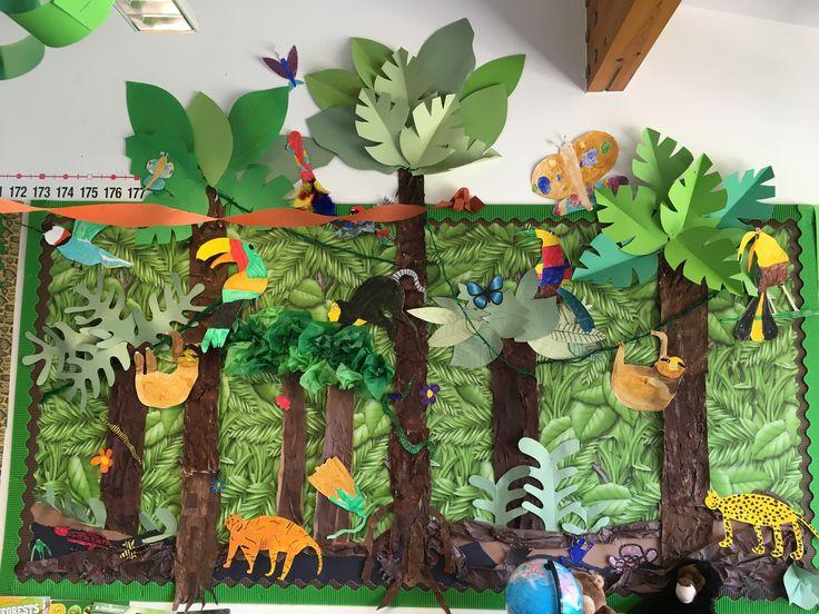 Rainforest classroom display collage. Jungle Fever topic. KS2.