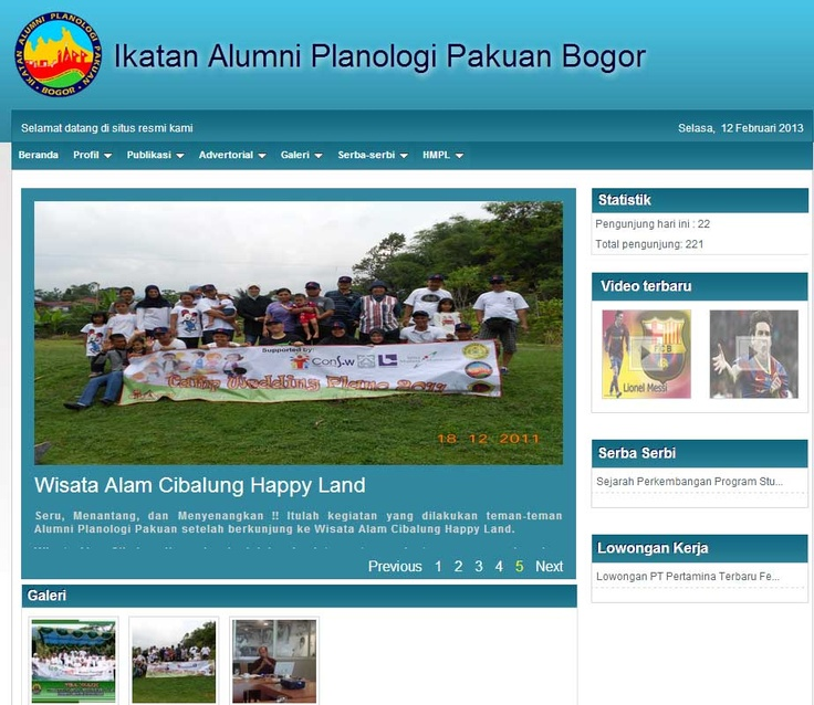 Website Ikatan Alumni Planologi Pakuan Bogor