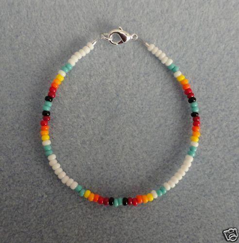 White, Turquoise Beaded Bracelet Native American All Sz