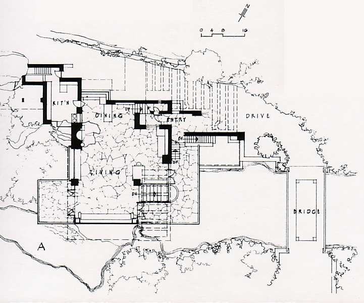 Frank Lloyd Wright Waterfall House Floor Plans Home Design In 2020 Waterfall House Falling Water House House Flooring
