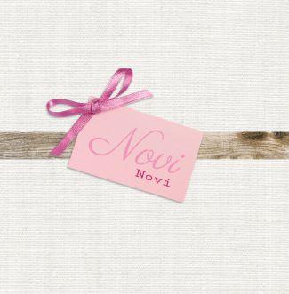 Geboortekaartje | Novi Lief, linnen, roze, label, meisje