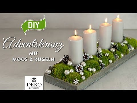 DIY: länglicher Adventskranz mit Moos & Kugeln [How to] Deko Kitchen - YouTube