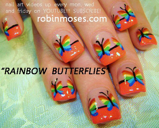 Nail-art by Robin Moses: RAINBOW BUTTERFLIES nail art design, HAWAIIAN SPLASH nail art tutorial design. simple tulips nail art design for short nails tutorials up for wednesday.