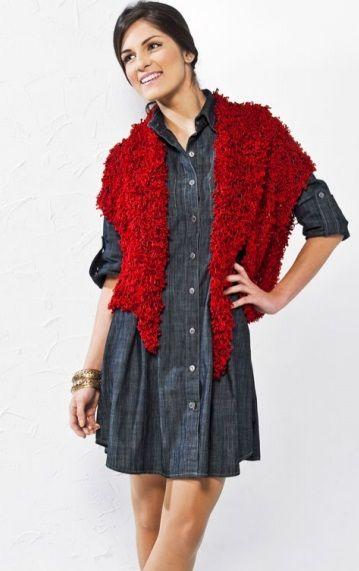 Colete e lenço Vermelho - Fio Cisne Powder