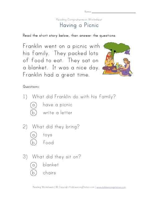 beginner reading comprehension worksheet having a picnic read the simple story about having. Black Bedroom Furniture Sets. Home Design Ideas