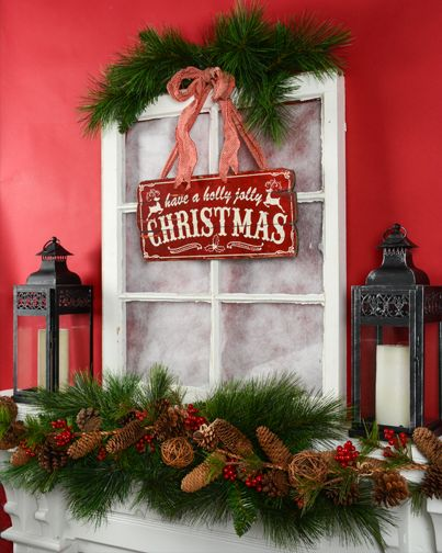 Cute Christmas signs - christmas decor ideas - vintage rustic Christmas decorations - Christmas mantle inspiration - red and green traditional holiday decor ideas - window arrangement