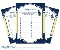 Boy Polo Baby ABC's Game, guess Animals Printable Card for Baby Polo Shower DIY navy yellow sport shower - ONLY digital file