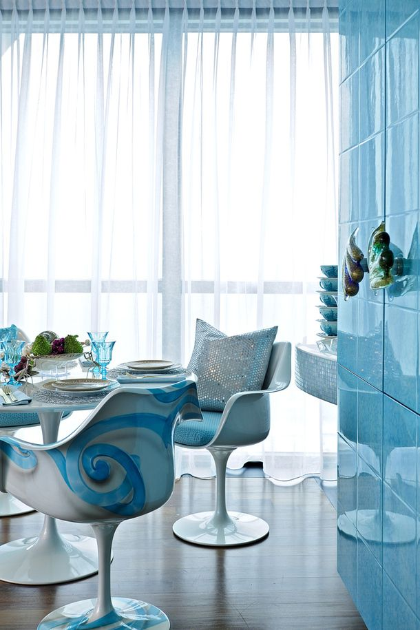 Apartment Mermaid In Miami Designer Carlo Rampazzi Issued For His Client From Interior White And Blue Colors With An Abundance Of Marine