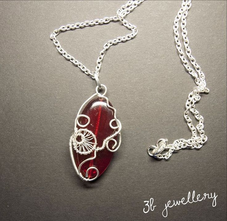 #red #spiral #pendant with chain #3bjewellery #wirewrapping #beginner