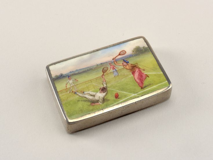 American Gilded Age era - A silver and enamel Match Safe, c.1891-92. Depicting ladies and gentlemen playing a game of tennis. ~ {cwl} ~ (Image/collection: Cooper Hewitt Museum)