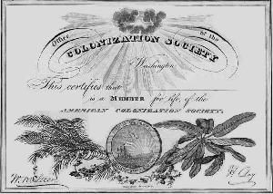 Founding of American Colonization Society, the purpose of which is to return freed slaves to Africa.