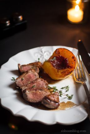 As far as Duck Breast recipes are concerned this Duck Breasts with Fresh Peaches recipe by Dorie Greenspan could not be more easy or elegant.