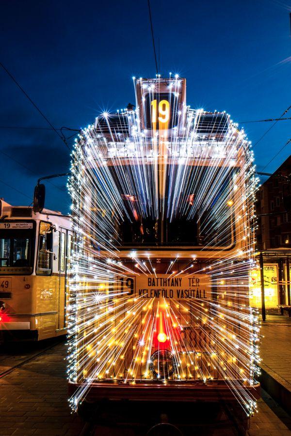 Light Tram with christmas decoratoin :: Budapest :: photo by Riccsi (Richárd Sárközi)