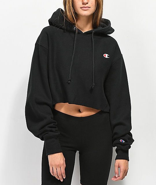 27fa827450fd Champion Reverse Weave Black Crop Hoodie. size medium