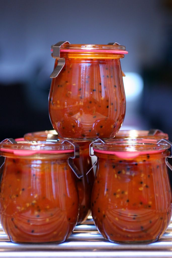 Spicy Tomato Chutney  - Ingredients  8 tablespoons of vegetable oil  2 tsp mustard seeds (brown or black)  2 tsp onion seeds  2 tsp fennel seeds  2 tsp cumin seeds  4 dried red chilis  1 tsp red chilli powder  2 cups raw organic cane sugar*  2 1/2 cups white distilled vinegar  4 1/2 lbs sweet dry-farmed Early Girl tomatoes  salt to taste