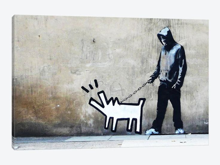 "Banksy Choose Your Weapon Keith Haring Dog by Banksy Canvas Print 26"" L x 18"" H x 0.75"" D - eWallArt"