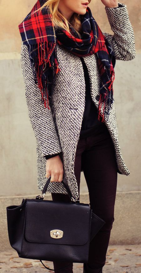 Gorgeous coat and tartan plaid scarf paired with a classic satchel bag.