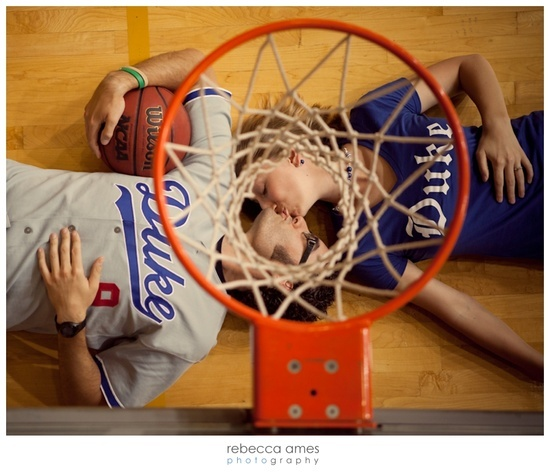 basketball themed engagement photos