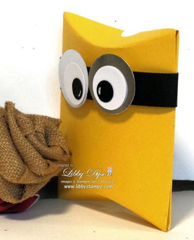 Minions Pillow Box - paint toilet paper roll, add black ribbon and eyes. Perfect gift box, I know who will receive it!
