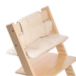 Coussin pour chaise haute Tripp Trapp de Stokke Beige Stripe doux et confortable 100 % coton