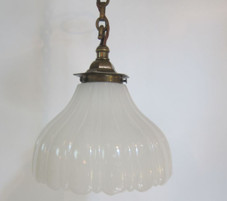 English Pendant Light In The Original Brass Finish Complemented By Period Moonstone Shade C 1910