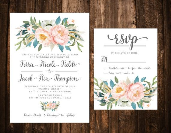 THIS LISTING INCLUDES Invitation Size: A7 (5 X7) RSVP Size: A2 (