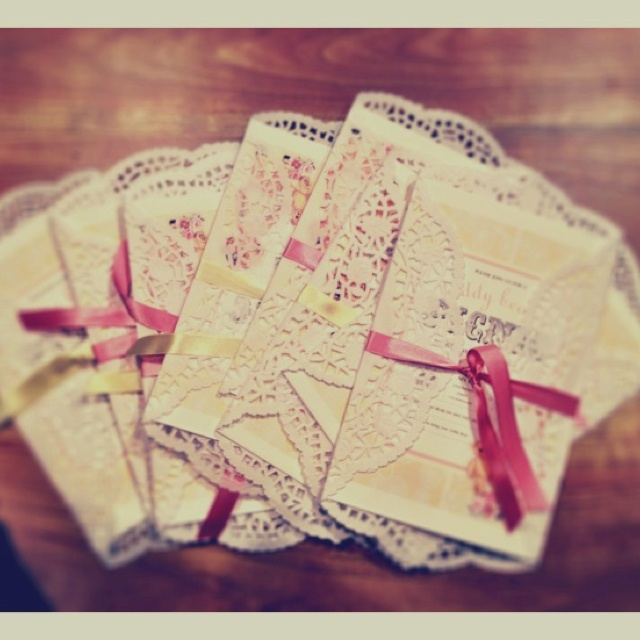 "From our ""Teddy Bear's Picnic"" themed Party. Pretty vintage invitations for a gorgeous little 2 year old girl's special day."
