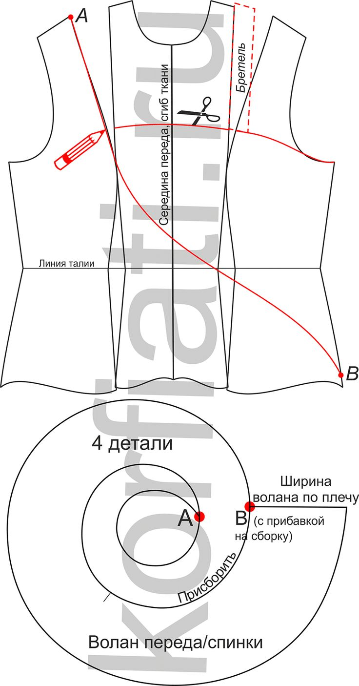 Выкройка волана на одно плечо