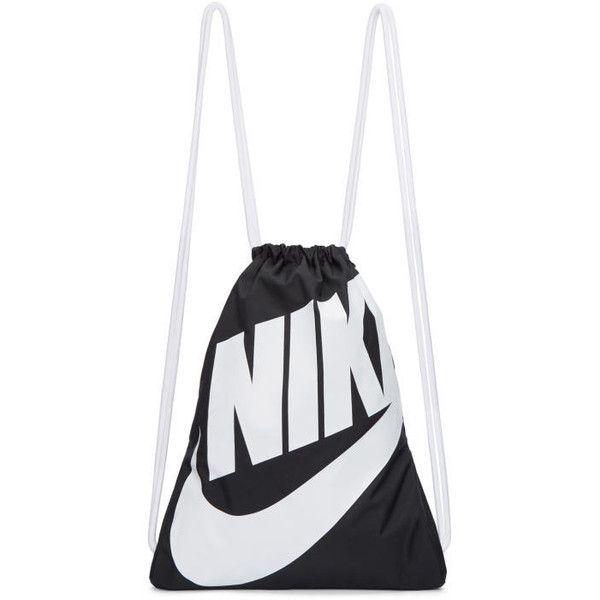 Nike Black and White Heritage Logo Gym Backpack ($16) ❤ liked on Polyvore featuring bags, backpacks, black, nylon bag, nike knapsack, drawstring backpacks, nike and drawstring backpack bag