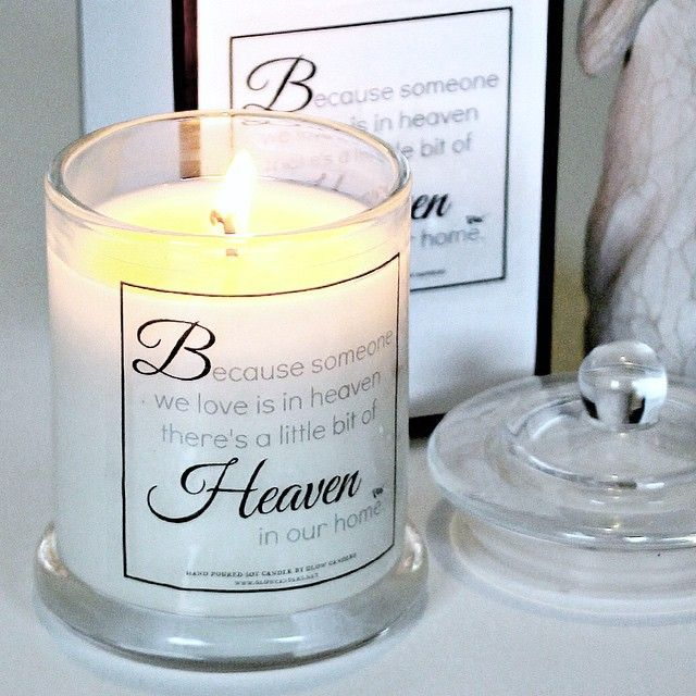 'Heaven' quote candle