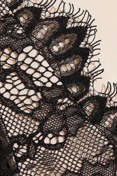 Alice Olivia - Primrose Leavers Lace And Jersey Bodysuit - Black - x large