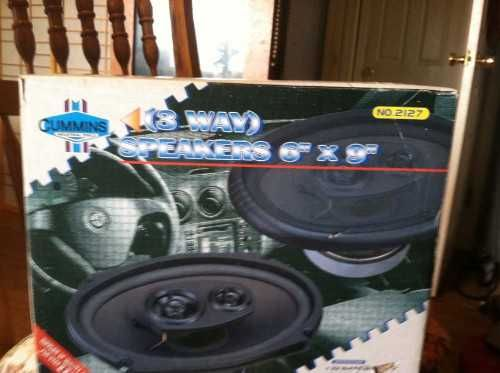 speakers in box. cummings 3 way, 6x9 speakers. brand new, still in box. 200watt max speakers box b