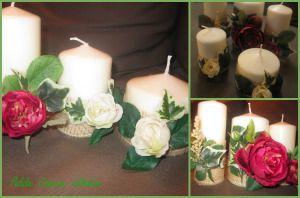 Candele bianche abbellite con fiori finti e juta. #candele #candle #fiori #flower #juta #colla