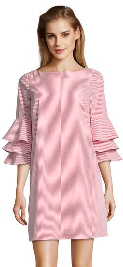 02809f86 Striped Shift Dress with Ruffled Bell Sleeves in 2019 | What to Wear ...