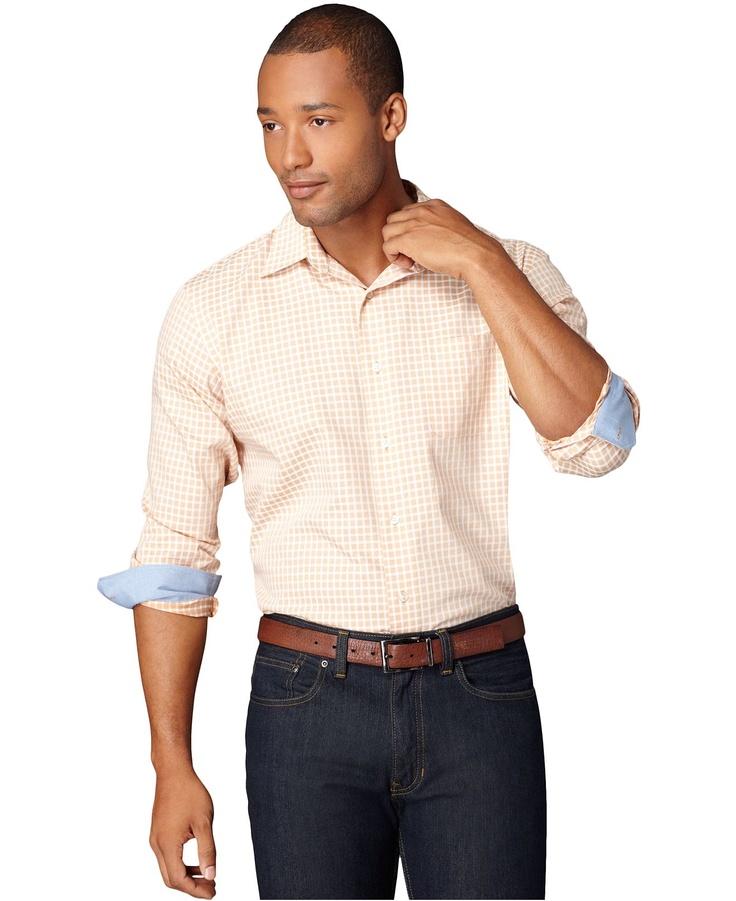 Van heusen shirt no iron boca raton windowpane check for No iron shirts mens