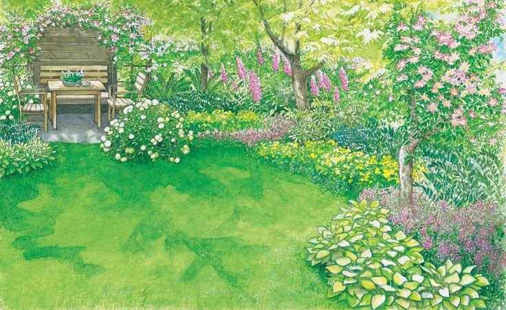 Eine gemütliche Sitzecke ist umgeben von einer farbenfrohen Blüten und Gewächsen