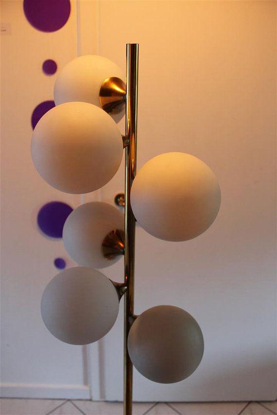 Original 70s Awesome Lamp With Multiple Spheres Golden SPUTNIK Lamp Pop  Molecular Design 60s Space Age