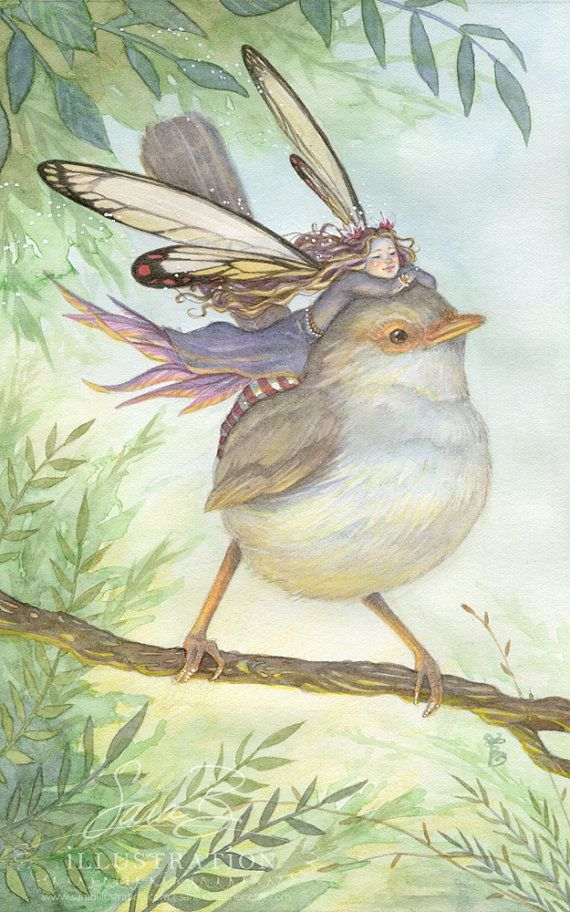 Princess Fairy Limited Print - in Purple Resting on Wren Bird at Dawn