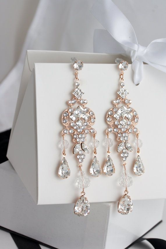 Chandelier Wedding Earrings Rose Gold Bridal Earrings Long
