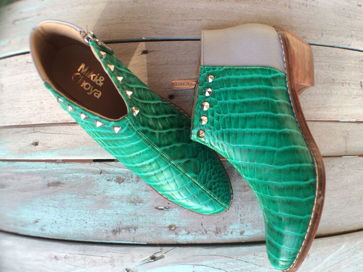 Green bamboo crocco by mikiandchoya boots