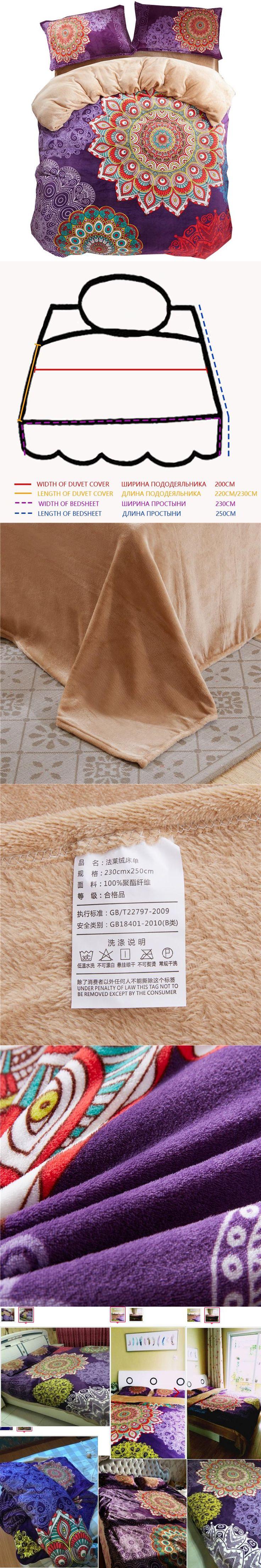 Svetanya Smooth Soft Bedlinen Flannel Fleece Fabric Queen Double bed size Winter warm Bedding Sets Bohemian Style