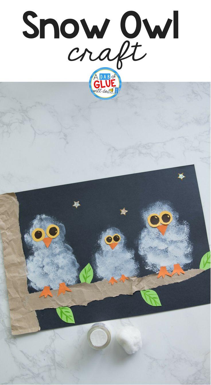 Pom Pom Stamped Snowy Owl Painting