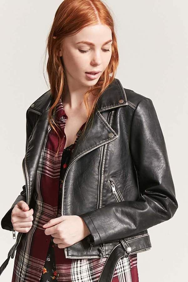 b7cdf6019 FOREVER 21 Distressed Faux Leather Moto Jacket   Womens Jackets ...