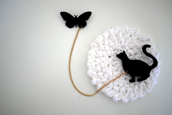 Cat + Butterfly Double Brooch