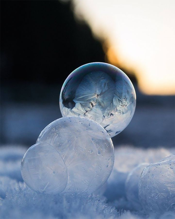 Beautiful Dainty Globes that Look Like Christmas Tree Ornaments are Actually Frozen Bubbles